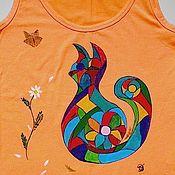 """Одежда ручной работы. Ярмарка Мастеров - ручная работа """"Мозаичная киса"""" маечка женская с ручной росписью оранжевая. Handmade."""