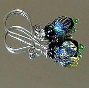 Украшения handmade. Livemaster - original item Earrings Sparkling flies lampwork. Handmade.