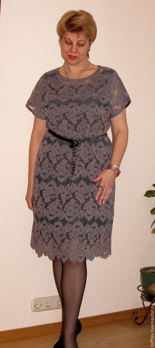 Платья ручной работы. Ярмарка Мастеров - ручная работа. Купить Платье кружевное нарядное на шелковой подкладке. Handmade. Серый
