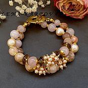 Украшения handmade. Livemaster - original item Madeira bracelet. Pearls, rauchtopaz, quartz, sun stone. Handmade.