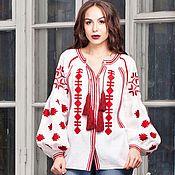 Одежда handmade. Livemaster - original item Women`s white embroidered blouse 100% linen. Free shipping.. Handmade.