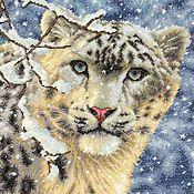 Картины и панно ручной работы. Ярмарка Мастеров - ручная работа картина снежный барс вышивка крестом. Handmade.