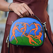 Сумки и аксессуары handmade. Livemaster - original item Round small leather bag with hand painted Matisse Dance. Handmade.