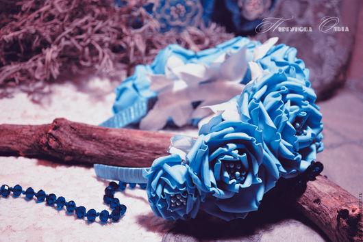 Диадемы, обручи ручной работы. Ярмарка Мастеров - ручная работа. Купить Ободок с голубыми розами. Handmade. Голубой, ободок для волос