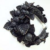 Украшения handmade. Livemaster - original item Night of the Black Berry Necklace made of genuine leather, agate, shungite and lava. Handmade.