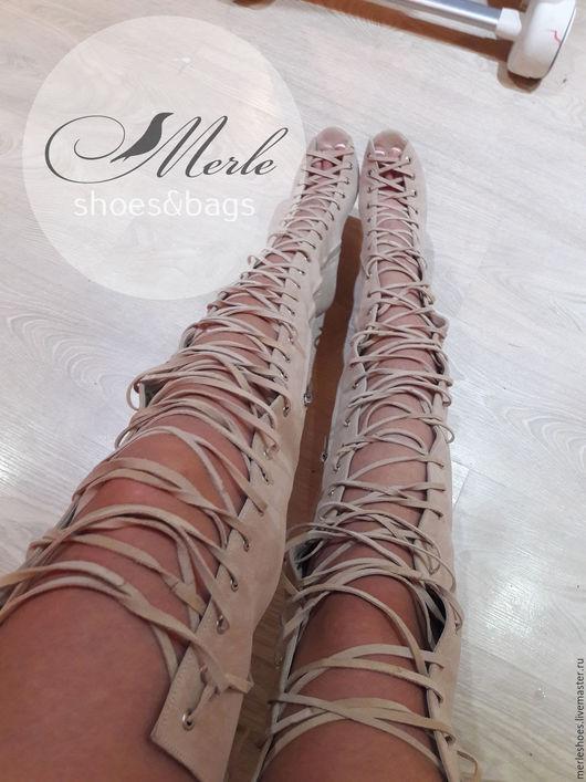 Обувь ручной работы. Ярмарка Мастеров - ручная работа. Купить Ботфорты шнуровка беж замш, 10 см. Handmade. Ботильоны
