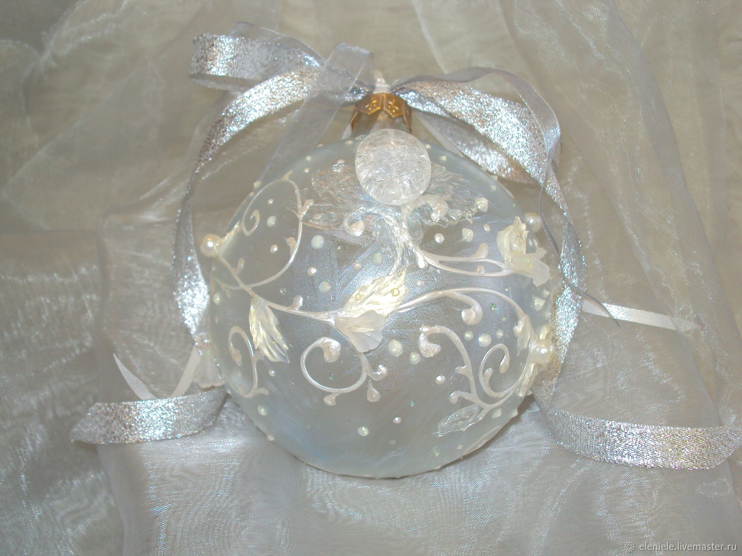 Ball glass painted Ice magic, Christmas decorations, Moscow,  Фото №1