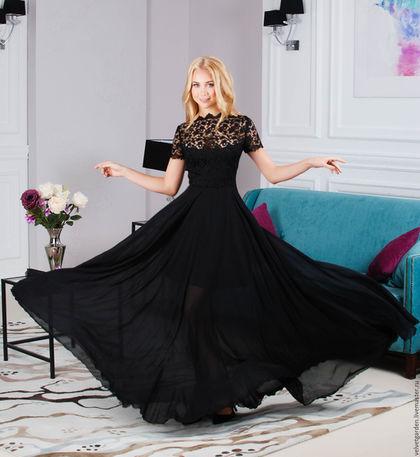 платье вечернее, платье длинное в пол, платье черное