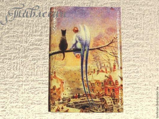 """Обложки ручной работы. Ярмарка Мастеров - ручная работа. Купить Обложка для паспорта """"Кот и ангел"""" кожа. Handmade. Обложка из кожи"""
