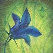 """Картины и панно ручной работы. Ярмарка Мастеров - ручная работа Пастель картина """"Сапфировый колоколец"""".Цветы картины. Картина пастелью. Handmade."""