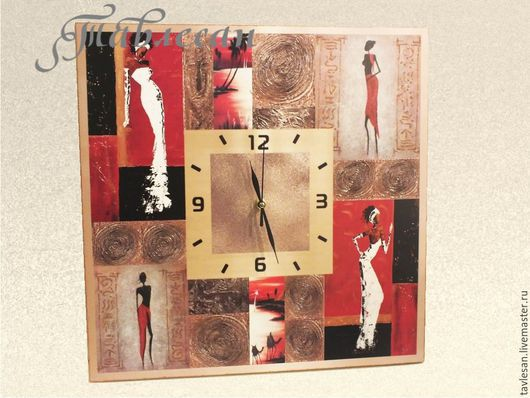 """Часы для дома ручной работы. Ярмарка Мастеров - ручная работа. Купить Часы настенные  """"В знойной жаркой Африке"""" в стиле этно в гостиную. Handmade."""