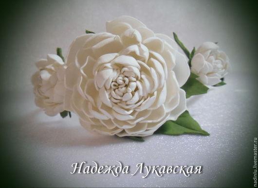 """Диадемы, обручи ручной работы. Ярмарка Мастеров - ручная работа. Купить Ободок """"Белые пионы"""". Handmade. Белый, ободок с цветами"""