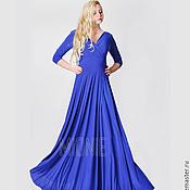 Одежда ручной работы. Ярмарка Мастеров - ручная работа Длинное платье синее. Handmade.