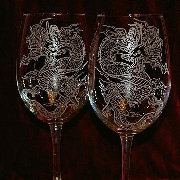Посуда ручной работы. Ярмарка Мастеров - ручная работа Драконы. Бокалы для вина.. Handmade.