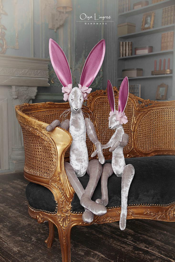Зайцы (92 и 64 см) серые для детской и гостиной. Зайчики мягкие, Мягкие игрушки, Санкт-Петербург,  Фото №1