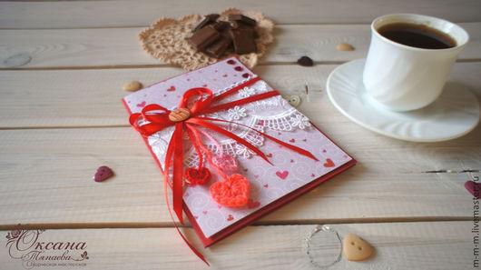 """Подарки для влюбленных ручной работы. Ярмарка Мастеров - ручная работа. Купить Открытка-валентинка """"Теплые сердечки"""" , ручная работа. Handmade."""