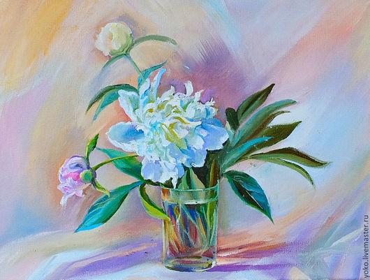 """Картины цветов ручной работы. Ярмарка Мастеров - ручная работа. Купить Картина """"Белый Пион"""" (холст, масло). Handmade. Розовый"""