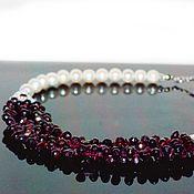 Украшения handmade. Livemaster - original item Necklace with pearl and garnet. Handmade.