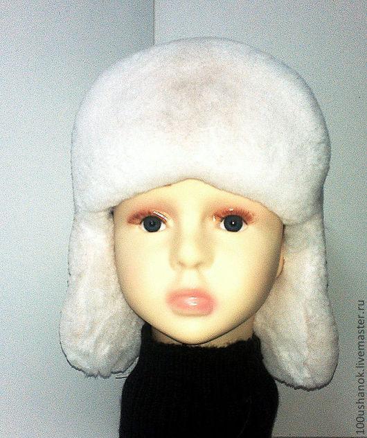 Шапки и шарфы ручной работы. Ярмарка Мастеров - ручная работа. Купить Ушанка детская из меха кролика REX. Handmade. Белый