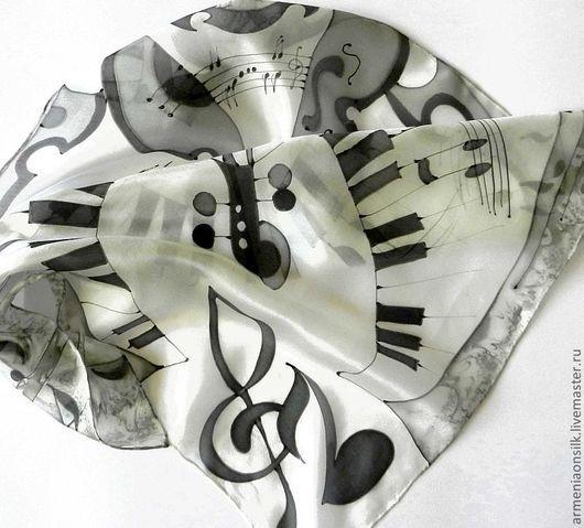 """Шали, палантины ручной работы. Ярмарка Мастеров - ручная работа. Купить Платок """"Музыка"""". Handmade. Чёрно-белый, музыкальный подарок"""