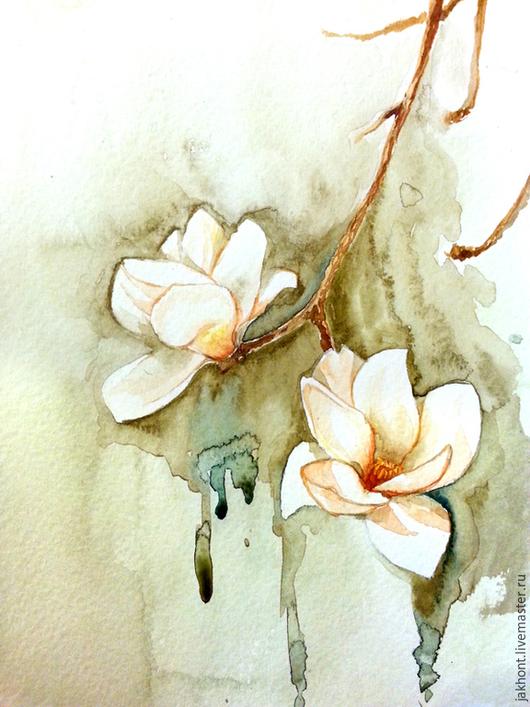 Картины цветов ручной работы. Ярмарка Мастеров - ручная работа. Купить Магнолия. Handmade. Оливковый, акварель, магнолия, цветы