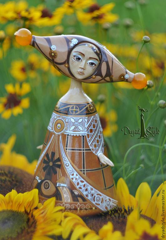 Коллекционные куклы ручной работы. Ярмарка Мастеров - ручная работа. Купить ЮНА. Авторская кукла из дерева. Handmade. Коричневый