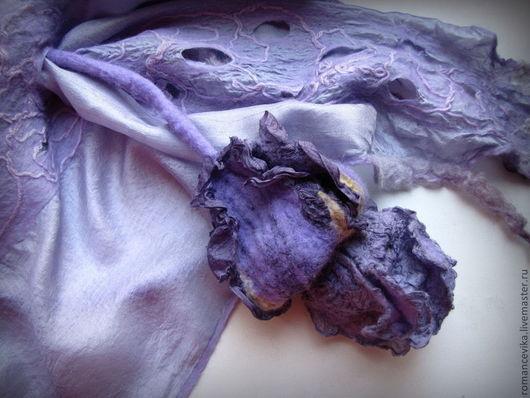 """Шарфы и шарфики ручной работы. Ярмарка Мастеров - ручная работа. Купить шарф """"Ирис"""", нунофелтинг. Handmade. Ручная работа, сиреневый"""