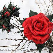 Украшения ручной работы. Ярмарка Мастеров - ручная работа Брошь из кожи Красная роза с браслетом. Handmade.
