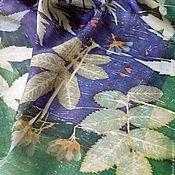 Аксессуары ручной работы. Ярмарка Мастеров - ручная работа Платок шелковый Черника и мята, окрашен вручную. Handmade.