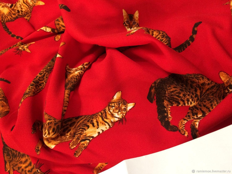 Dolce & Gabbana Трикотаж креповый плотный Кошки – купить в интернет-магазине на Ярмарке Мастеров с доставкой