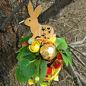 """Подарки к праздникам ручной работы. Ярмарка Мастеров - ручная работа Букет из конфет (с вареньем) """"Пасхальный кролик"""", подарок на Пасху. Handmade."""