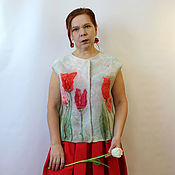 Одежда handmade. Livemaster - original item Vest felted Tulip morning. Handmade.