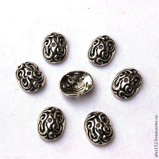 Для украшений ручной работы. Ярмарка Мастеров - ручная работа. Купить Шапочка для плоских  овальных бусин 12х10 мм тибетское серебро. Handmade.