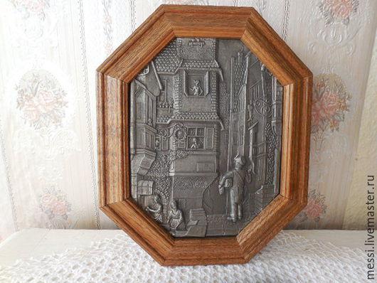 Винтажные предметы интерьера. Ярмарка Мастеров - ручная работа. Купить Ключница, ящик для ключей, олово и дуб, винтаж. Handmade. Коричневый