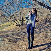 """Аксессуары ручной работы. Ярмарка Мастеров - ручная работа Вязаный объемный шарф """"Серо-голубой"""". Handmade."""