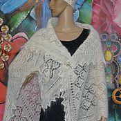 Аксессуары handmade. Livemaster - original item Scarf shawl openwork downy white Aksinya 100% goat down. Handmade.
