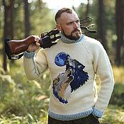 Одежда ручной работы. Ярмарка Мастеров - ручная работа Шерстяной вязаный свитер композиция Волки. Handmade.