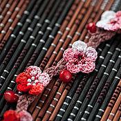 """Украшения ручной работы. Ярмарка Мастеров - ручная работа Бусы-браслет """"Сакура"""" (хлопок, бисер, коралл). Handmade."""