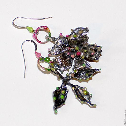 """Серьги ручной работы. Ярмарка Мастеров - ручная работа. Купить Асимметричные серьги """"Гербарий. Весна"""". Handmade. Розовый, асимметрия"""