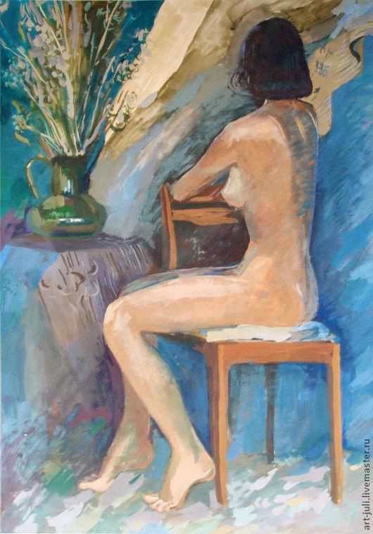 Ню ручной работы. Ярмарка Мастеров - ручная работа. Купить картина Лиана (81х57см). Handmade. Бежевый, синий, картина для декора