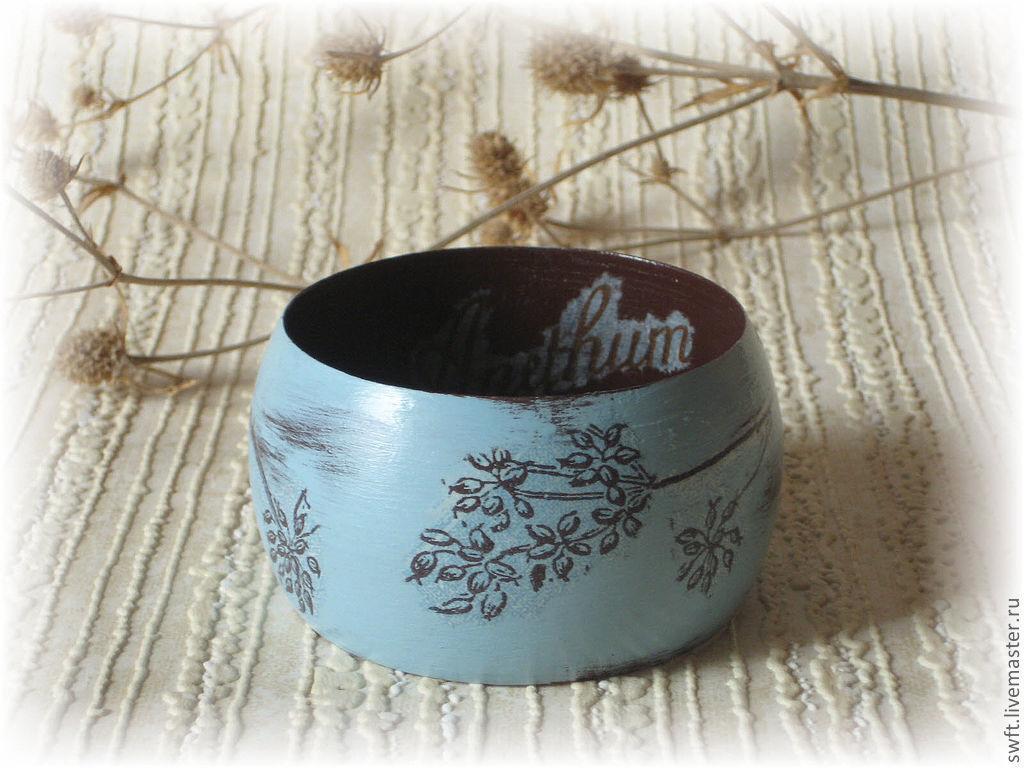 Blue & brown wide wooden bracelet . Decoupage wood, Hard bracelet, Volsk,  Фото №1