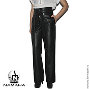 Одежда ручной работы. Ярмарка Мастеров - ручная работа Брюки кожаные чёрные женские. Handmade.