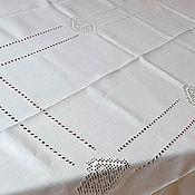 Для дома и интерьера ручной работы. Ярмарка Мастеров - ручная работа Скатерть 10 кубанцов, лен, мережка, строчевая вышивка. Handmade.