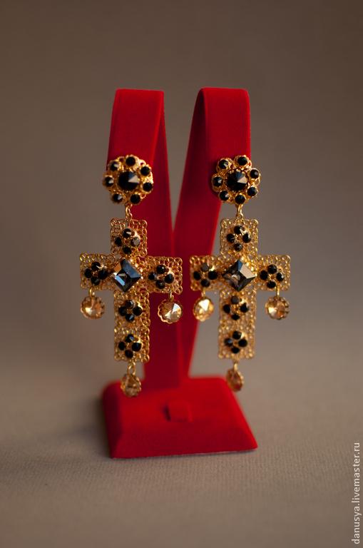 """Серьги ручной работы. Ярмарка Мастеров - ручная работа. Купить Клипсы в стиле D&G с подвесками-крестами """"Black diamond"""". Handmade."""