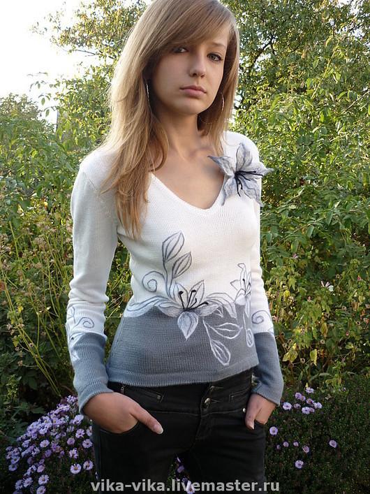 """Кофты и свитера ручной работы. Ярмарка Мастеров - ручная работа. Купить Кофточка """"лилЕя"""". Handmade. Лилия, цветочный, вязание"""