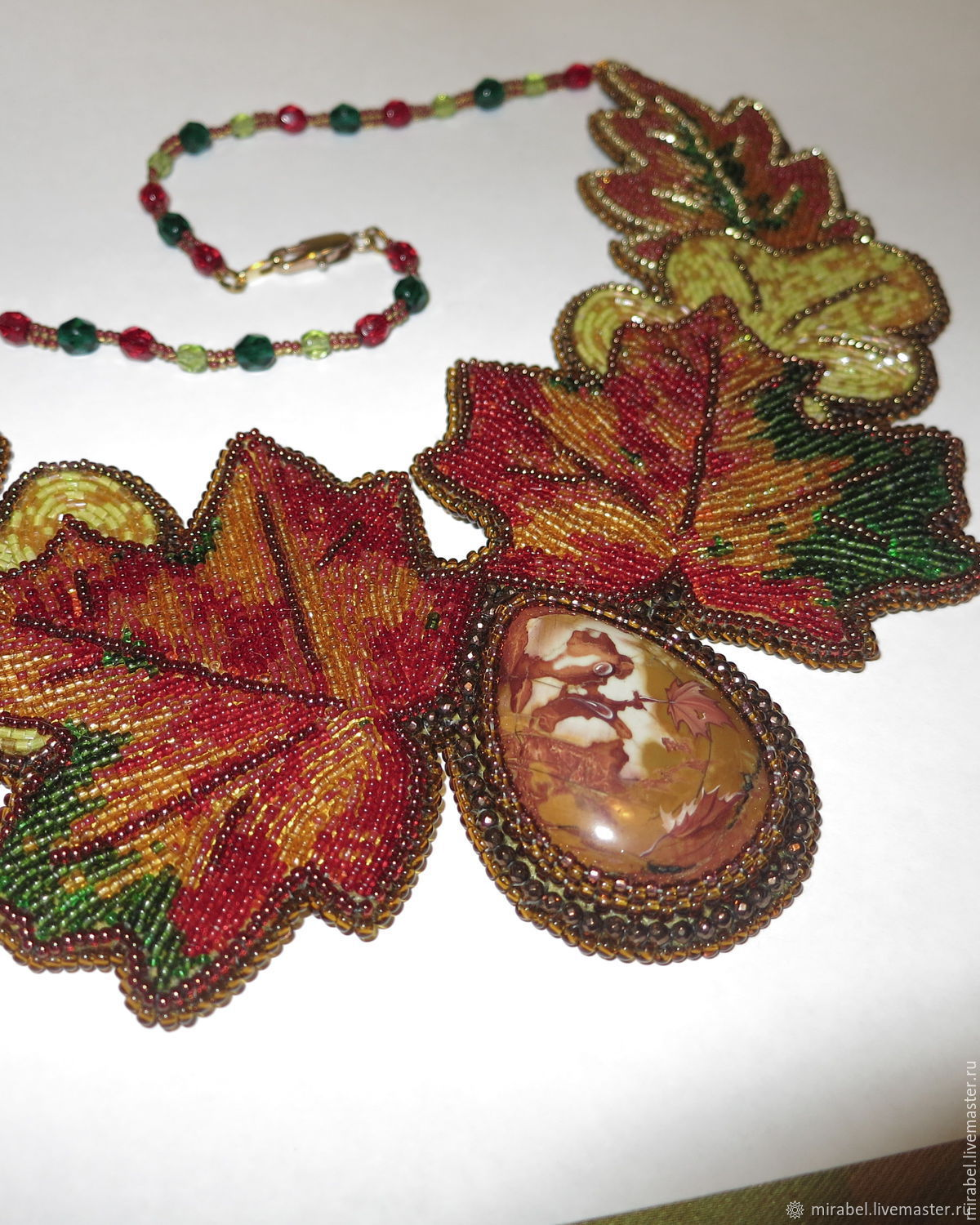 Decoration of beads and stones. Bead embroidery. Moscow autumn, Necklace, Moscow,  Фото №1