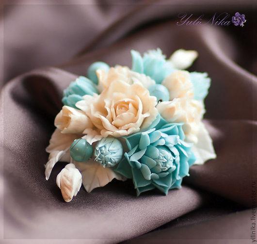 Броши ручной работы. Ярмарка Мастеров - ручная работа. Купить Брошь с хризантемой и розами. Handmade. Бирюзовый, брошь с цветами, для женщины