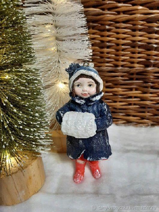 Ватная игрушка на елку , девочка с муфтой, Елочные игрушки, Томск,  Фото №1