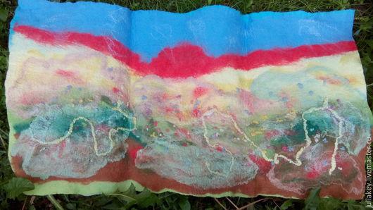 Пейзаж ручной работы. Ярмарка Мастеров - ручная работа. Купить валяная картина, панно Вечер, степь, закат.... Handmade. Разноцветный