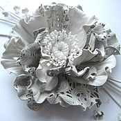 Украшения handmade. Livemaster - original item Leather flowers. Decoration brooch pin OPENWORK WINTER .WHITE FLOWER. Handmade.